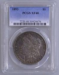 1893 Morgan Silver Dollar XF40 PCGS