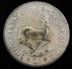 Rare 1958 South Africa 5 Shillings Silver Coin