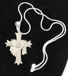 Large Sterling Silver Cross and Chain