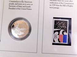 Bill of Rights 1993  Proof Silver Coin and Stamp