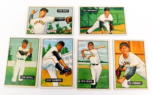 6 Bowman Gum 1951 Pittsburgh Pirates Baseball Cards
