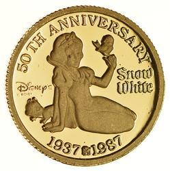 1987 Walt Disney's Snow White 50th Anniversary Fine Gold Token
