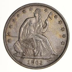 1863 Seated Liberty Silver Half Dollar - Near Uncirculated
