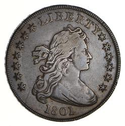 1801 Draped Bust Silver Dollar - Heraldic Eagle Reverse - Circulated