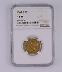 AU50 1840-D $5 Liberty Head Gold Half Eagle - Graded by NGC