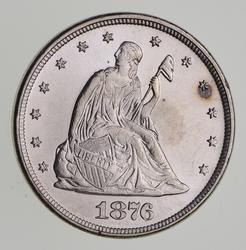 1876 Seated Liberty Silver Twenty-Cent Piece - Choice