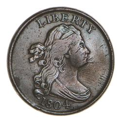 1804 Draped Bust Half Cent - Spiked Chin - Circulated