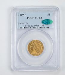 MS63 1909-S CAC $5.00 Indian Head Gold Half Eagle - Old Holder - PCGS