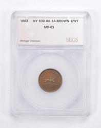 MS63 1863 Hussey's Special Message Post Civil War Token - Graded SEGS