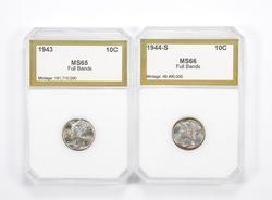 Lot (2) MS65 FB 1943 & MS66 FB 1944-S Mercury Dimes - Graded PCI
