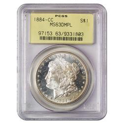 Certified Morgan Silver Dollar 1884-CC MS63DMPL PCGS