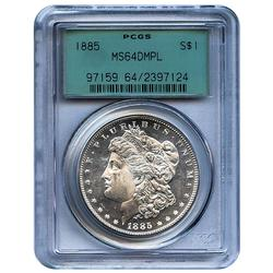Certified Morgan Silver Dollar 1885 MS64DMPL PCGS