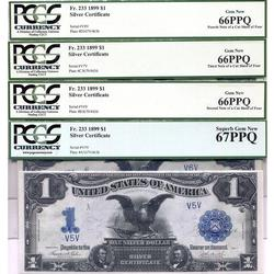 1899 $1 Black Eagle Silver Certificates 4pc Set