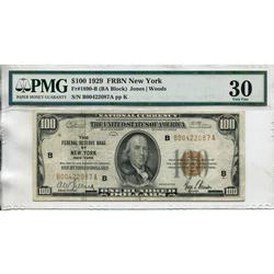 1929 $100 Federal Reserve Note New York NY VF30 PMG