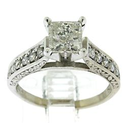 14KT White Gold Princess Cut Diamond Ring
