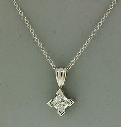 14KT White Gold Diamond Pendant Necklace