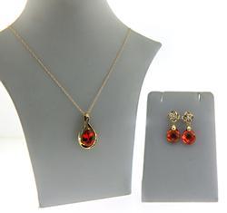 10KT Yellow Gold Orange CZ & Diamond Earrings & Necklace Set