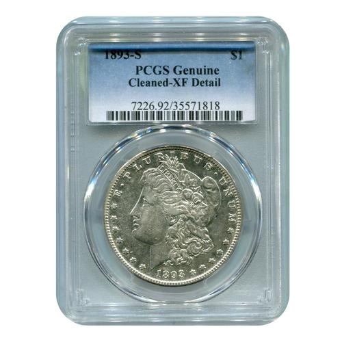 Certified Morgan Dollar 1893-S Cleaned XF Detail PCGS