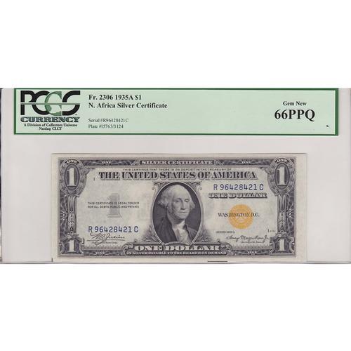 1935A $1 North Africa Silver Certificate Gem New 66PPQ