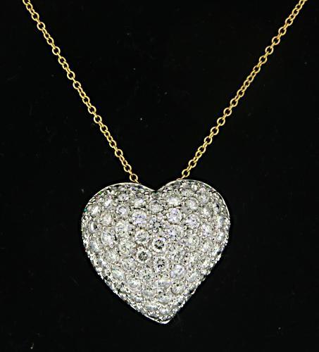 18KT Yellow Gold Pave Diamond Heart Pendant