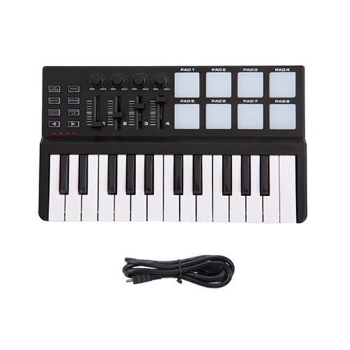 Mini 25-Key USB Keyboard and Drum Pad MIDI Controller