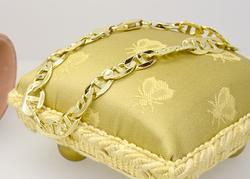 High Polished Gold Flat Mariner Link Mens Bracelet