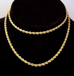 Heavy 14K Gold Rope Chain, 24in