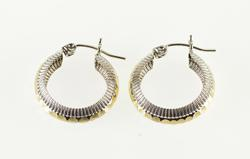 14K Yellow Gold Ridged Hammered Two Tone Grooved Hoop EarRings