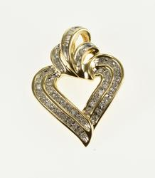 14K Yellow Gold Diamond Channel Inset Encrusted Wavy Heart Pendant