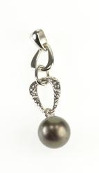14K White Gold 8.7mm Tahitian Pearl Hammered Textured Chain Pendant