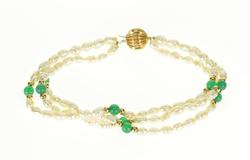 14K Yellow Gold Three Tiered Cultured Pearl Beaded Bracelet