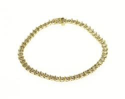 10K Yellow Gold Diamond Encrusted Tennis Wavy Link Bracelet