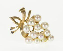 14K Yellow Gold Pearl Encrusted Cluster Grape Fruit Bunch Pin/Brooch