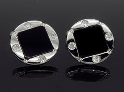 18K White Gold Onyx & Diamond Cufflinks