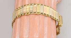 Superb Brushed TriGold 14KT Bracelet, 7.25 inch