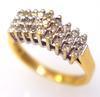 Petite Three-Row Diamond Ring in Gold, Size 4.5