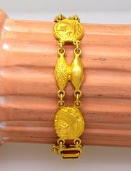 Ornate 22K Gold Bracelet, 6.5in