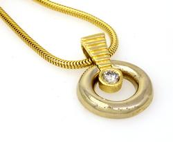 Two Tone Diamond Solitaire Pendant on 16in Snake Chain
