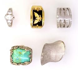 Lot of Five Rings, Turqouise, Vermeil, Etc