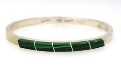 Hinged Sterling Bangle with Malachite, 7in