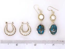 Two Pairs of Sterling Earrings, Pearl & Turquoise