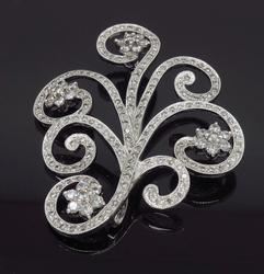18K White Gold Diamond Brooch