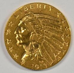 Lovely top end 1913 US $5 Indian Gold Piece