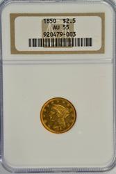 Semi-Prooflike near BU 1850 $2.50 Liberty Gold NGC AU55