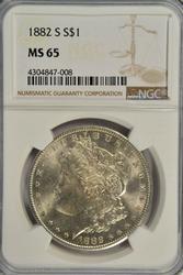 Great Gem BU 1882-S Morgan Silver Dollar. NGC MS65