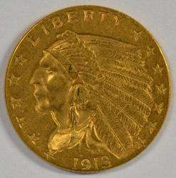 Very pretty 1913 US $2.50 Indian Gold Piece