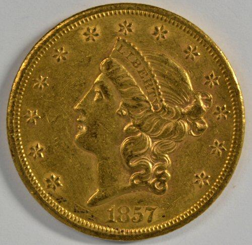 Key scarce near mint 1857-S Ty1 $20 Liberty Gold Piece