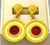 Amazing Set of 18K Garnet Bracelet, Earrings & Ring