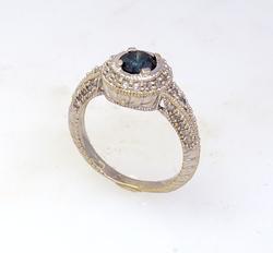 Exquisite .5ct Blue & White Diamond Ring, Size 6