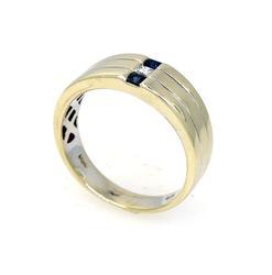 Men's Diamond & Sapphire Three-Row Ring, Size 10